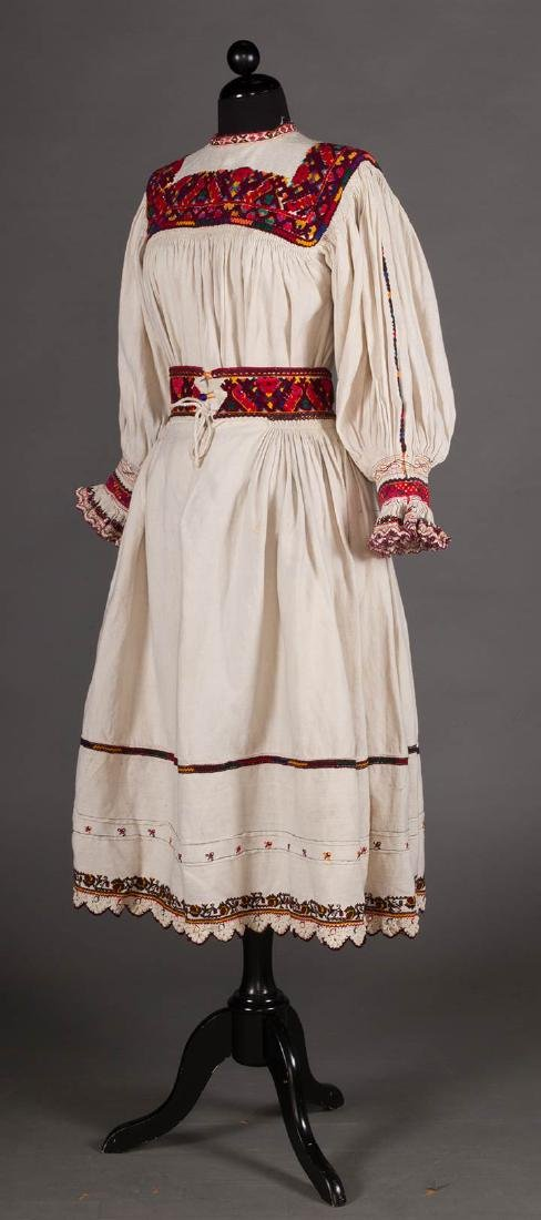 RED EMBROIDERED SKIRT & TOP, c. 1900 - 2