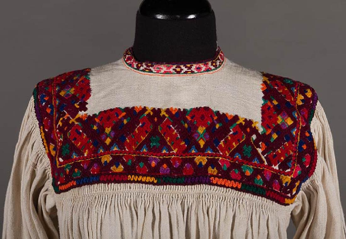 RED EMBROIDERED SKIRT & TOP, c. 1900 - 5