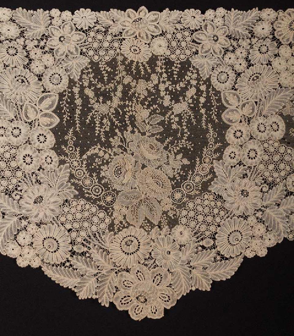 BRUSSELS MIXED LACE SHAWL, c. 1860 - 2