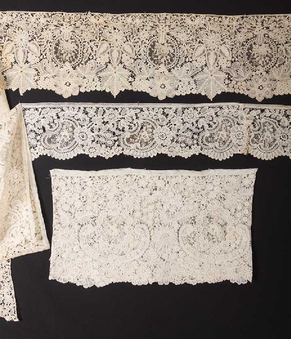 2 MIXED BRUSSELS LACE FLOUNCES