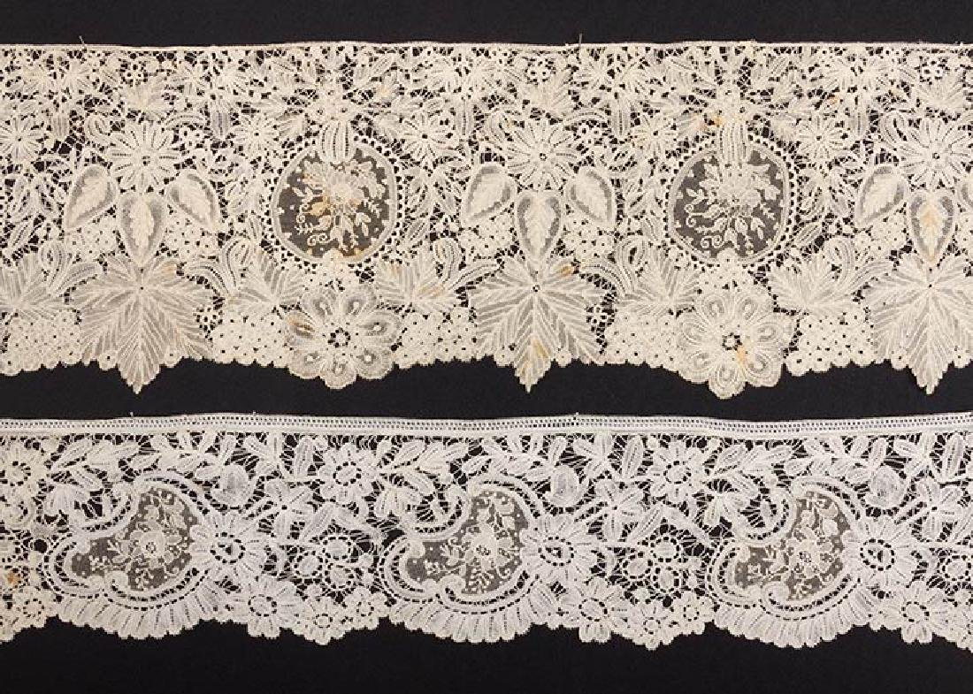 2 MIXED BRUSSELS LACE FLOUNCES - 2