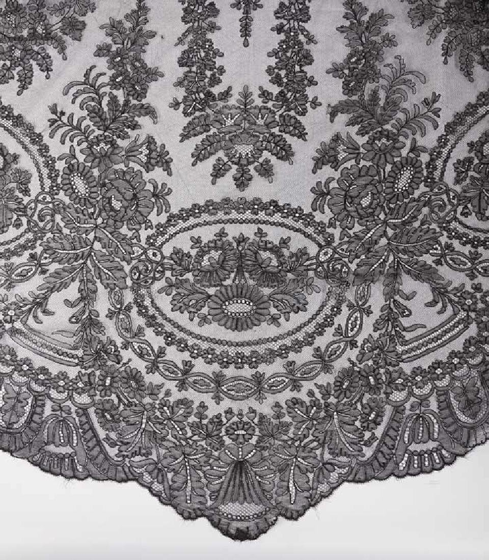 2 CHANTILLY LACE SHAWLS, MID 19TH C - 10