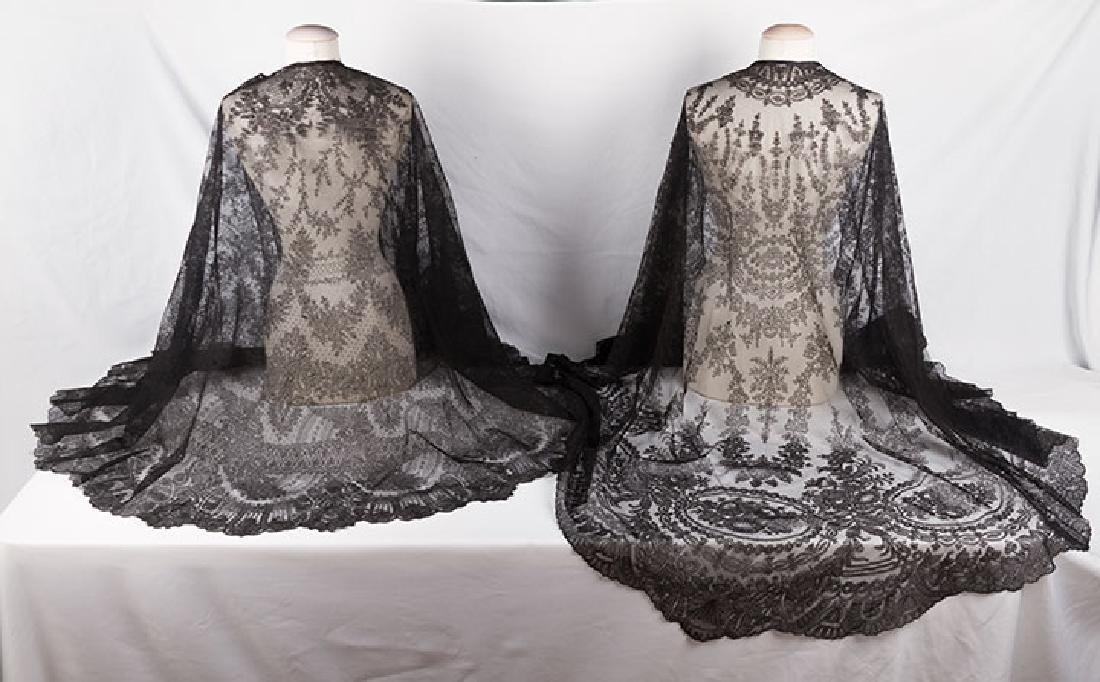 2 CHANTILLY LACE SHAWLS, MID 19TH C