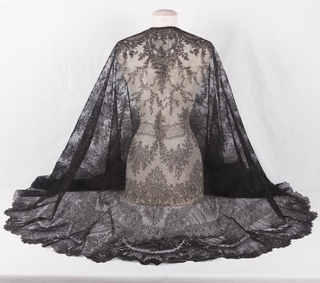2 CHANTILLY LACE SHAWLS, MID 19TH C - 2
