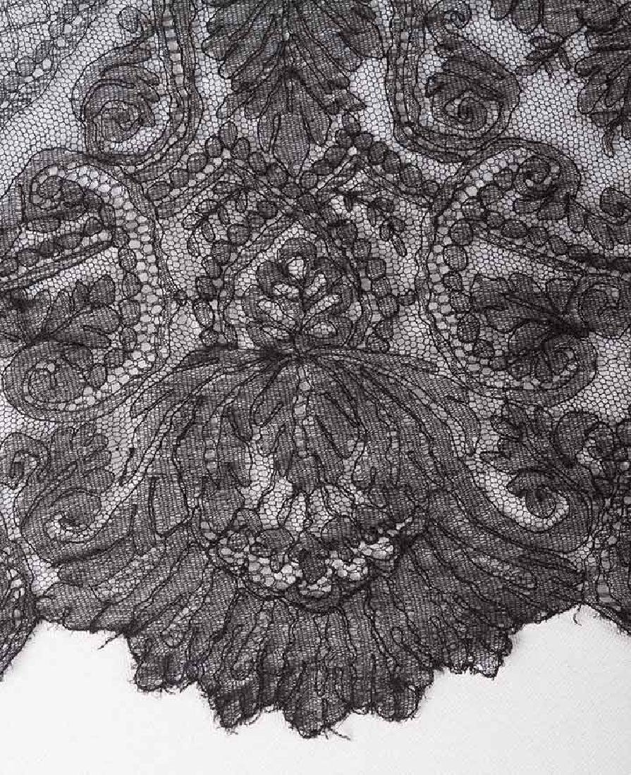 2 CHANTILLY LACE SHAWLS, MID 19TH C - 6