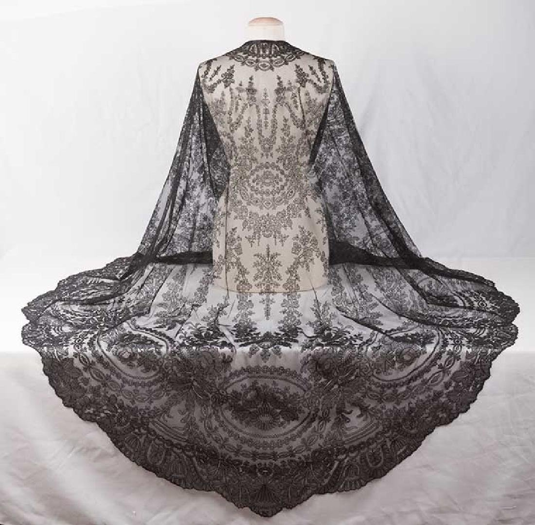 2 CHANTILLY LACE SHAWLS, MID 19TH C - 8