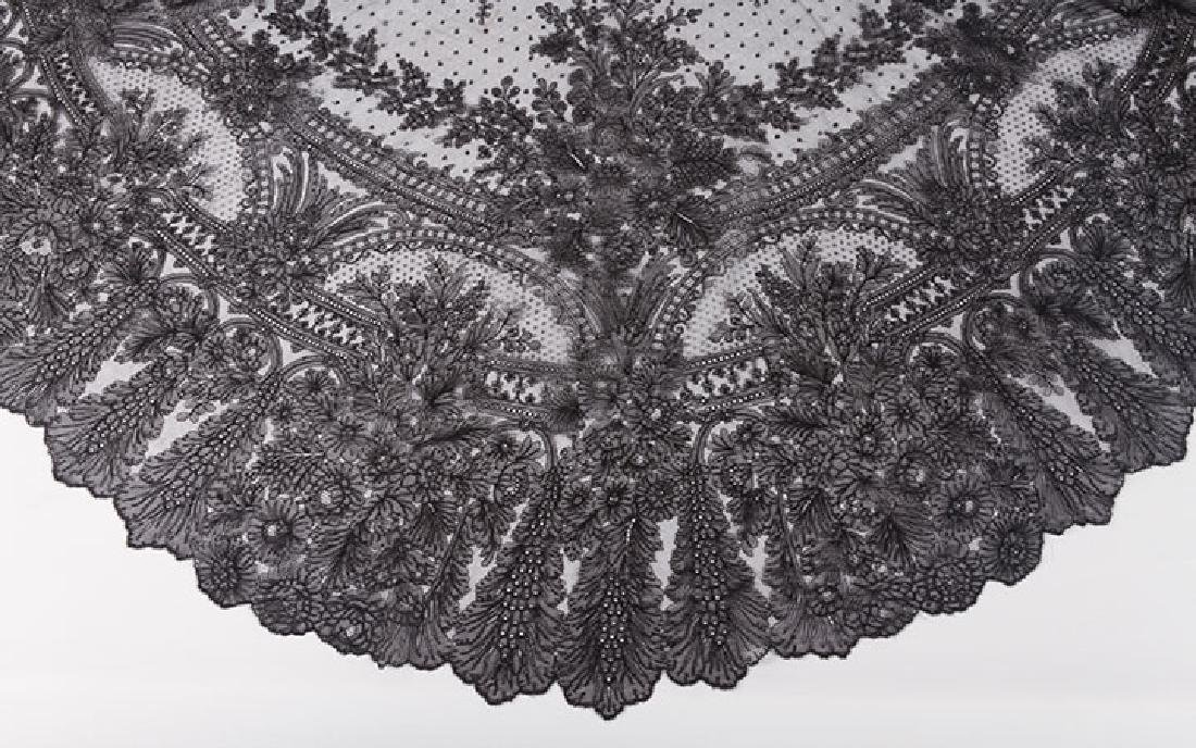 2 CHANTILLY LACE SHAWLS, MID 19TH C - 4