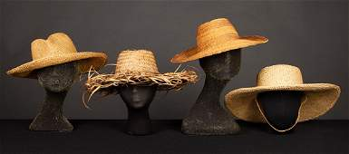 FOUR KATHARINE HEPBURN STRAW HATS