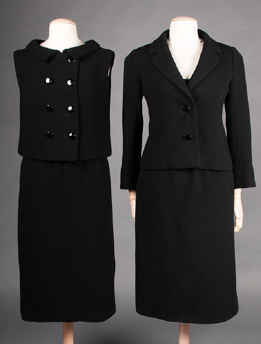 TWO NORELL BLACK WOOL DINNER OUTFITS, 1960s