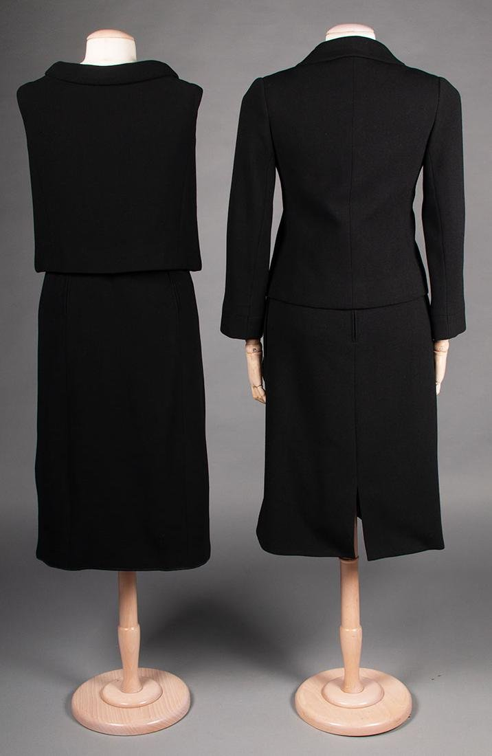 TWO NORELL BLACK WOOL DINNER OUTFITS, 1960s - 2