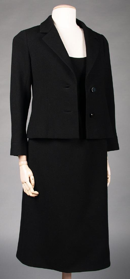 TWO NORELL BLACK WOOL DINNER OUTFITS, 1960s - 7
