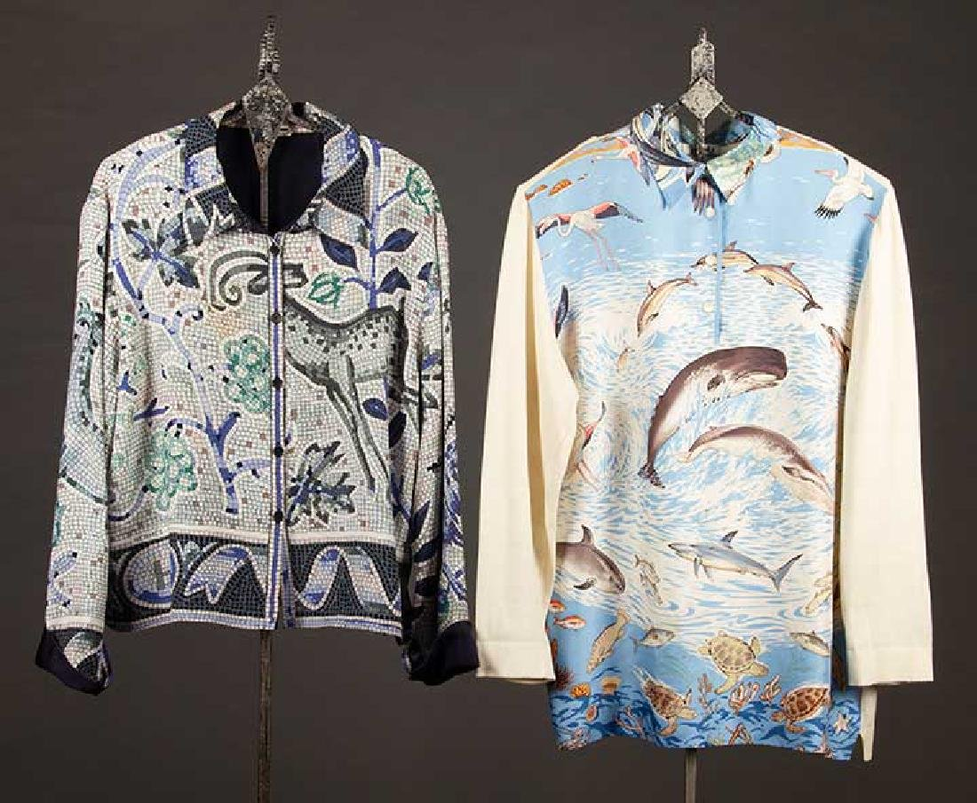 TWO MENS HERMES SILK SHIRTS, LATE 20TH C