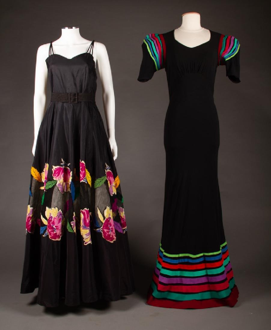 TWO EMBELLISHED BLACK GOWNS, 1940s