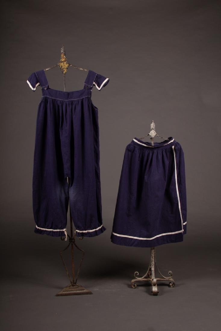 NAVY BLUE SWIM OR GYM SUIT, c. 1900