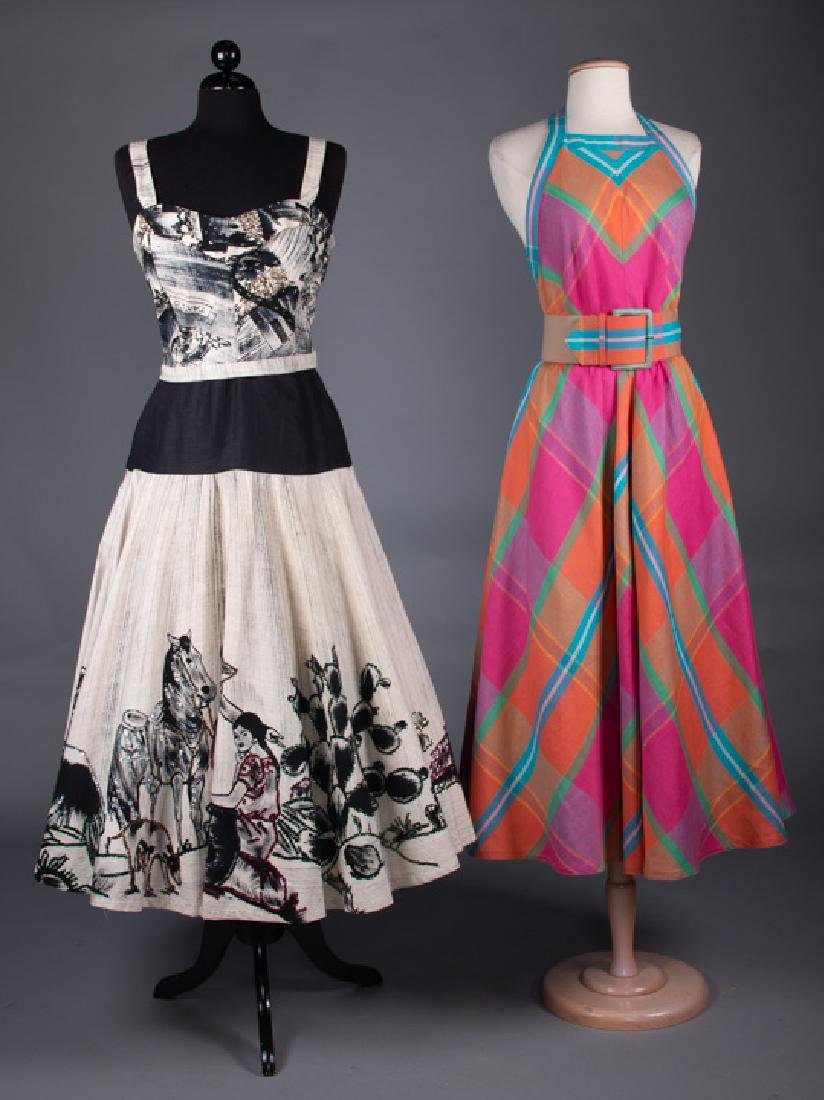 PRINTED MEXICAN DRESS, 1950s & PLAID SUNDRESS, 1980s