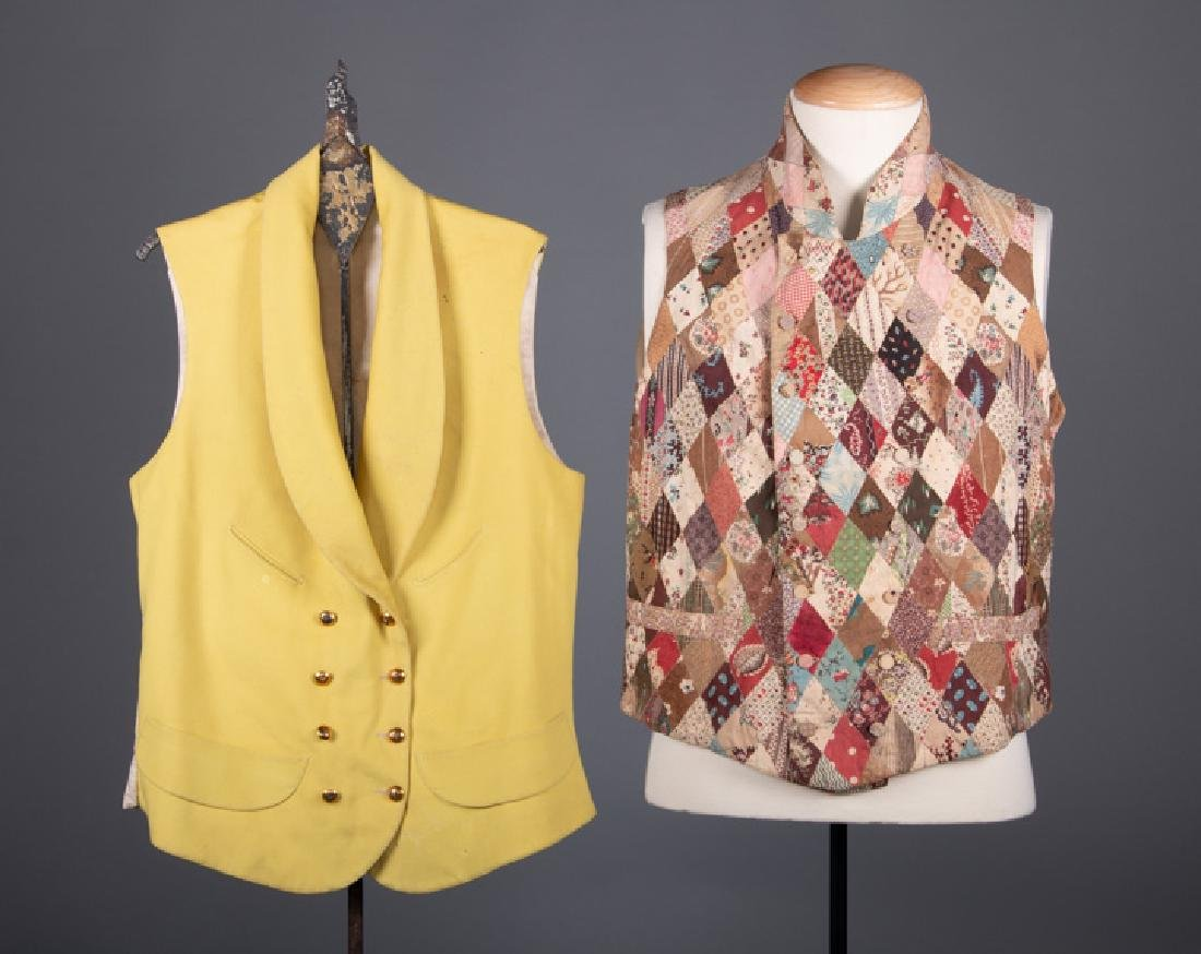 TWO MENS DOUBLE BREASTED VESTS, 19TH C