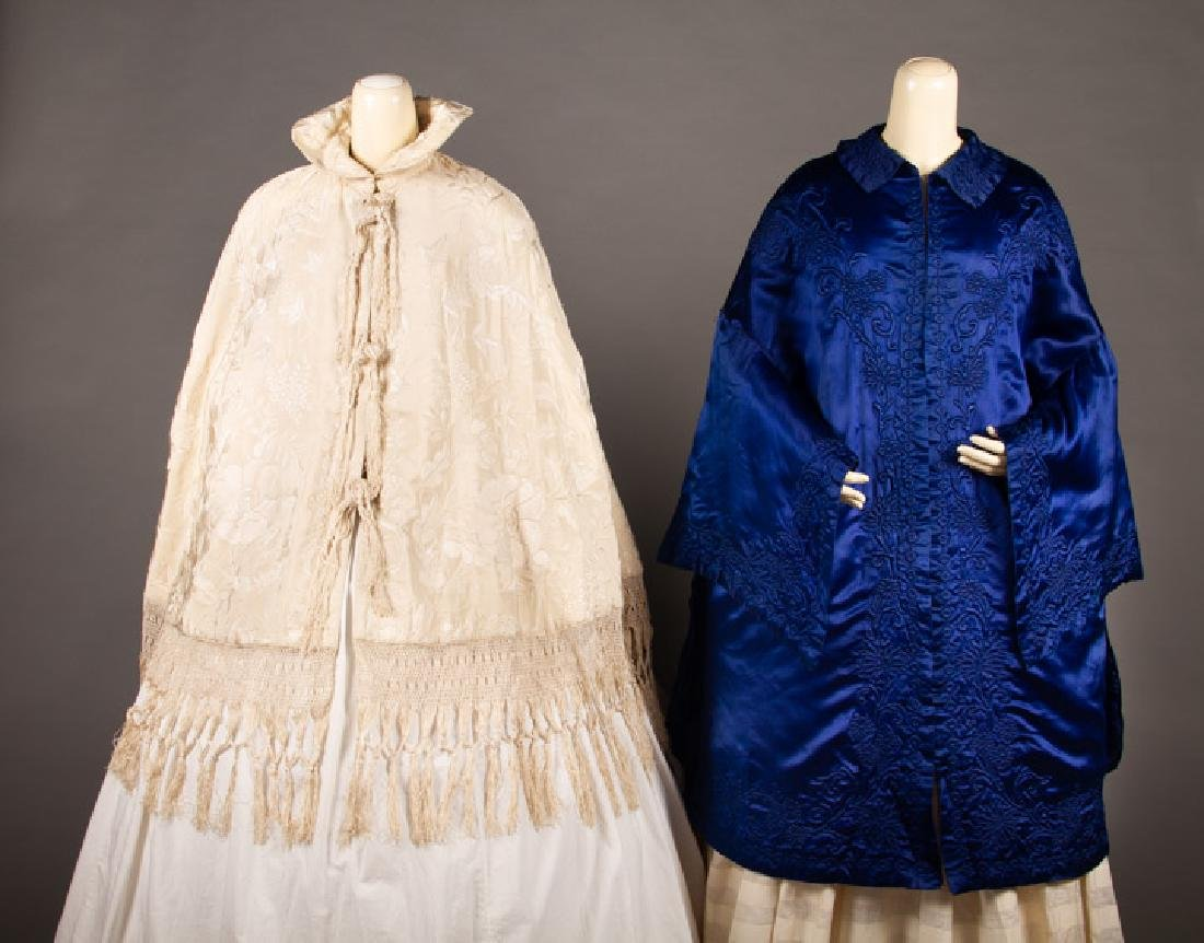 TWO EMBROIDERED SILK CAPES, MID-19TH C.