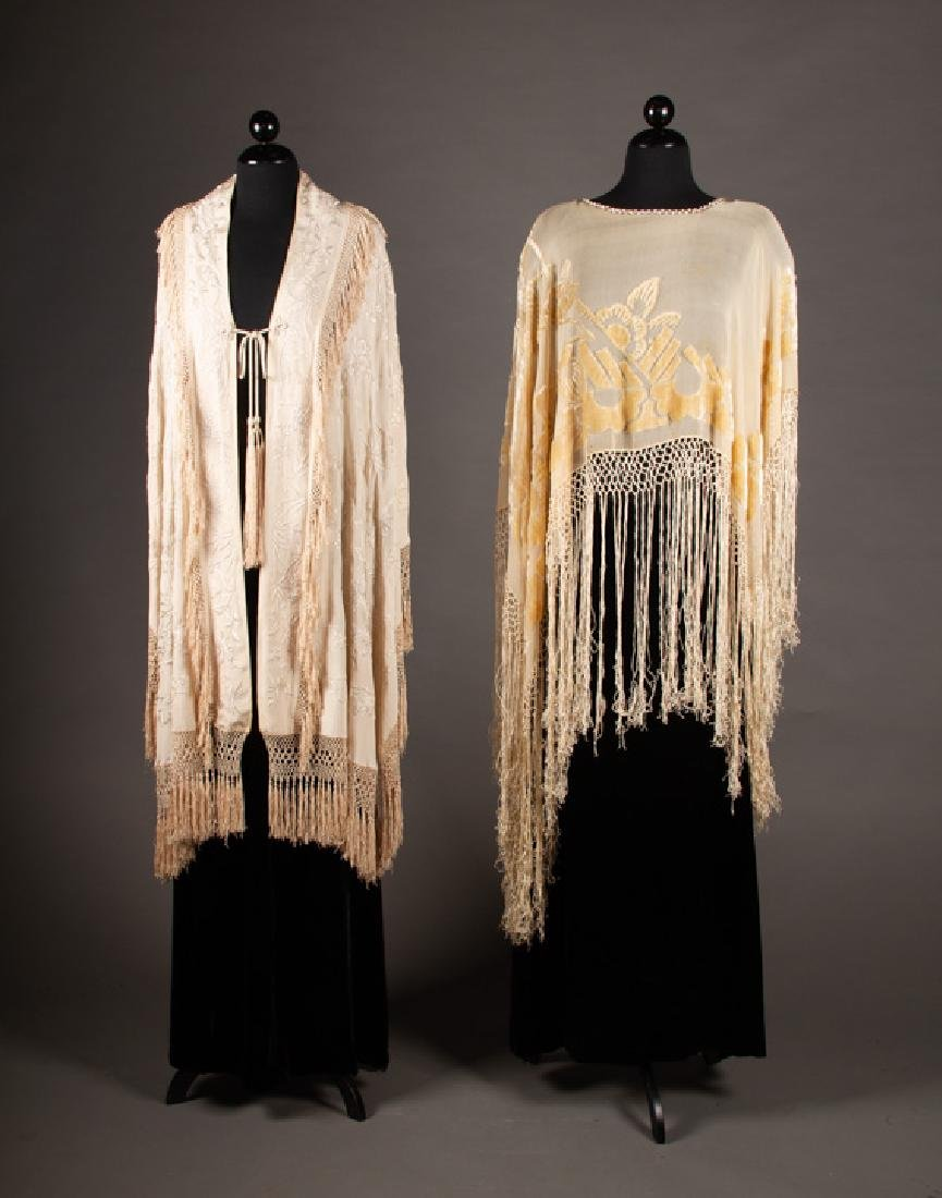 TWO CREAM EVENING WRAPS, 1900 & 1920