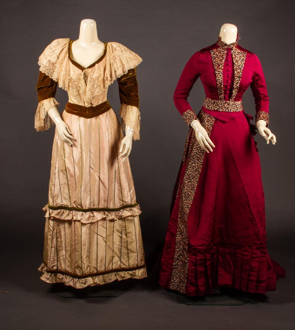 TWO SILK BUSTLE DRESSES, 1880s