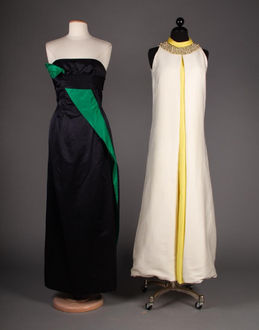 ONE BLACK & ONE WHITE EVENING GOWN, 1970s