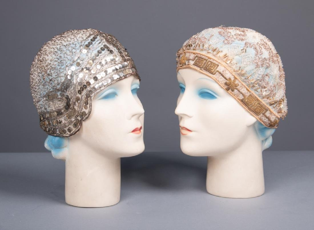 TWO BEADED CLOCHES, LATE 1920s