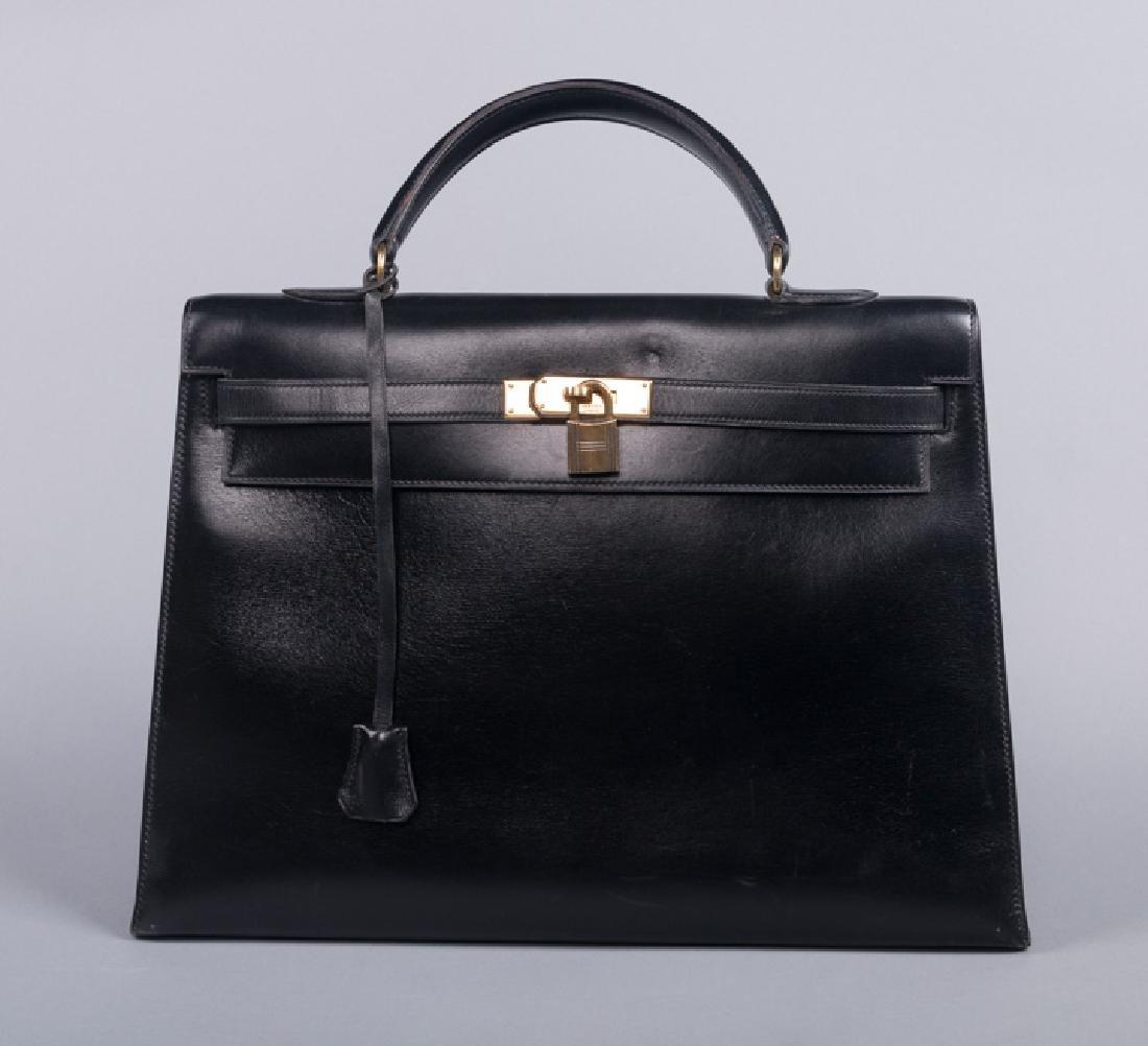 HERMES BLACK LEATHER KELLY BAG, PARIS, 1950-1960s