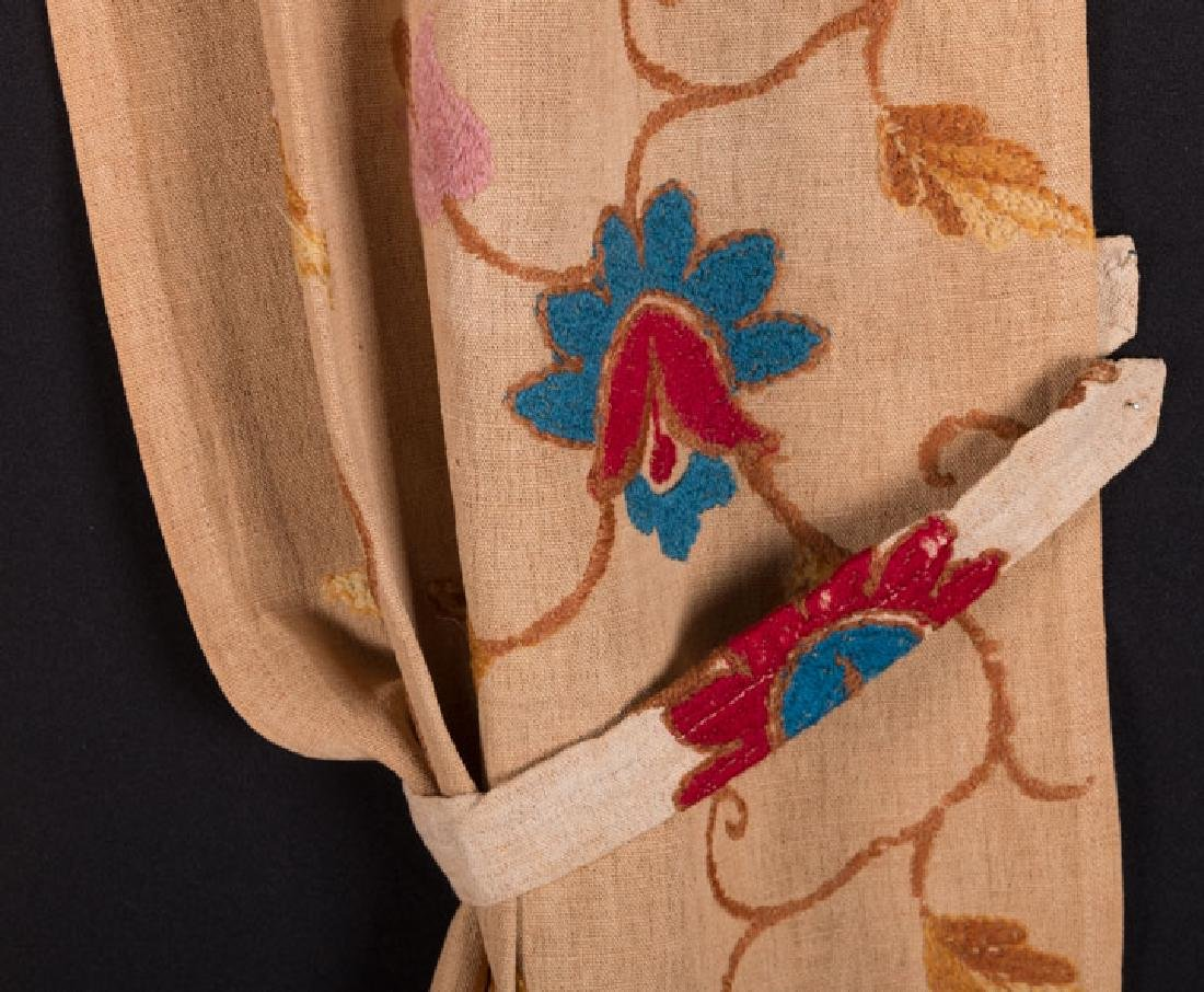 THREE PAIR EMBROIDERED CURTAINS, EARLY-MID 20TH