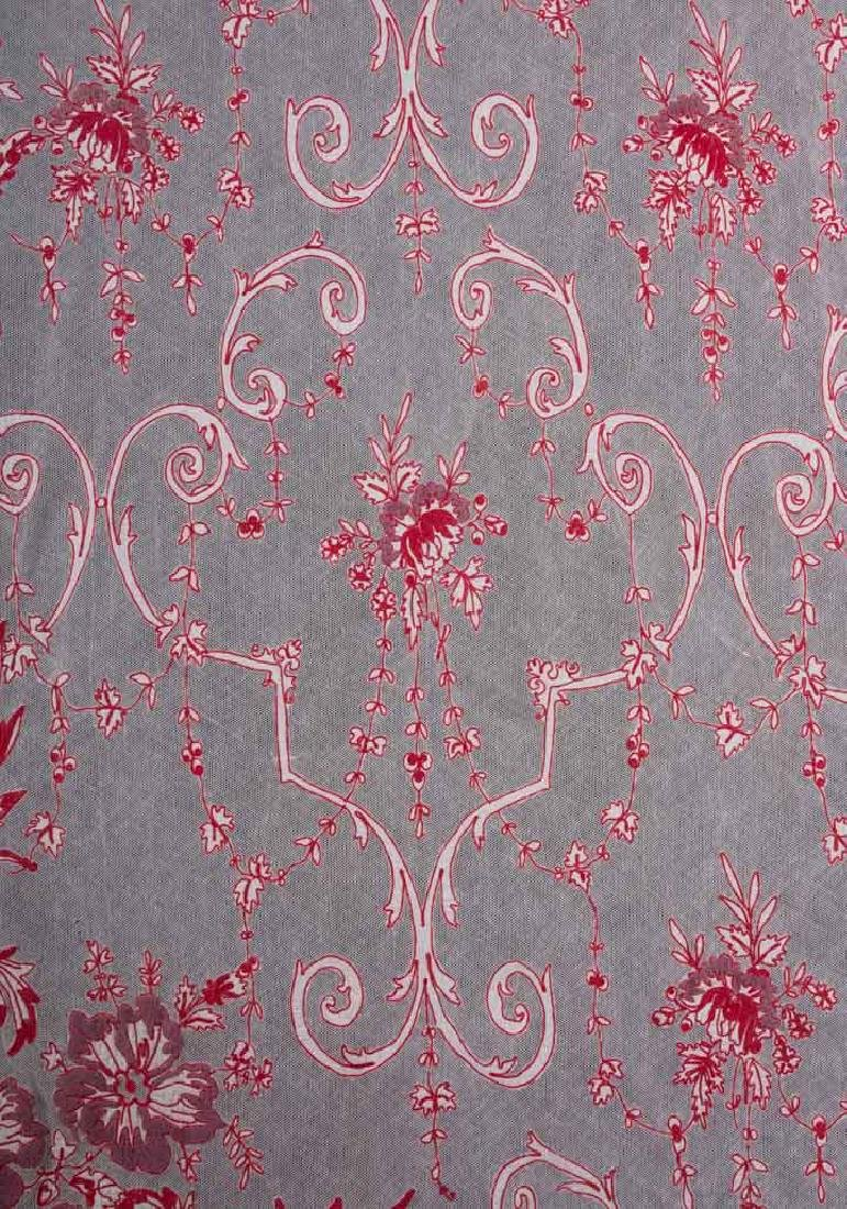THREE RED TAMBOUR EMBROIDERED CURTAIN PANELS, EARLY