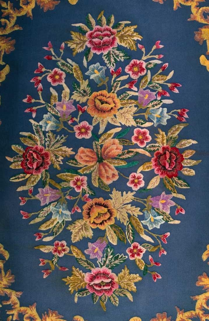 FLORAL WOOL WORK TABLE COVER, FRANCE, 1870-1890