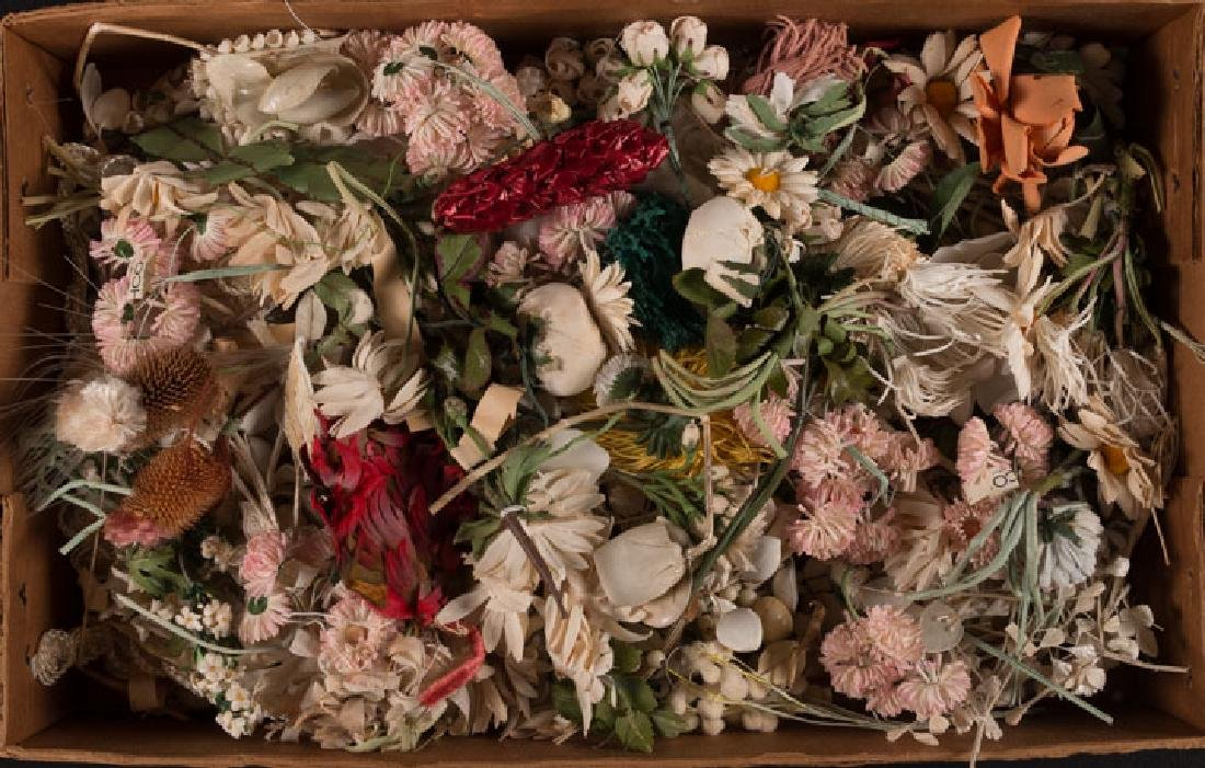 GROUP OF CLOTH FLOWERS, MID 20TH C