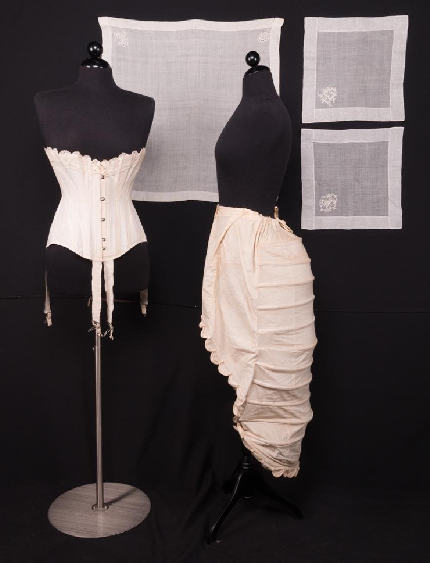 WOMENS CORSET, c. 1910 & LOBSTER TAIL BUSTLE, 1870s