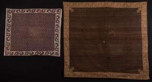 TWO BLOCK PRINTED KERCHIEFS, 1800-1830
