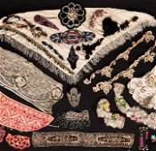 LARGE LOT OF MIXED TRIMS, BEADED & SEQUINED ELEMENTS,