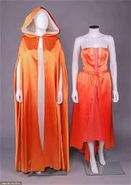 COUTURE ANTONELLI TANGERINE SILK EVENING DRESS & CLOAK,