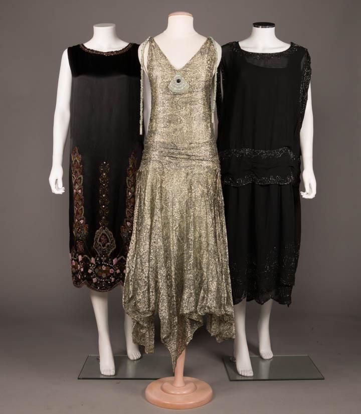TWO BLACK BEADED PARTY DRESSES, MID 1920s