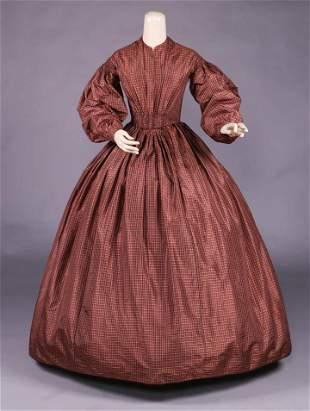 SILK PLAID TAFFETA DAY DRESS, c. 1850