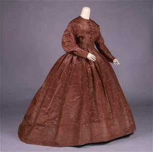 BROWN SILK MOIRÉ DAY DRESS, c. 1865
