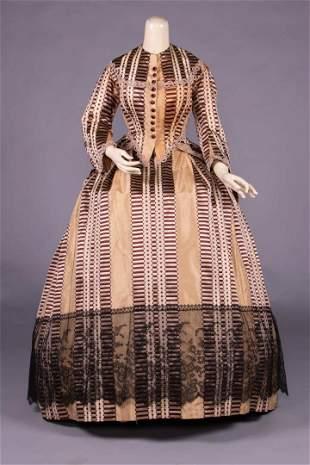 RIBBON PATTERNED SILK DAY DRESS, c. 1868