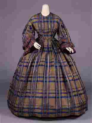 PLAID SILK TAFFETA DAY DRESS, c. 1858