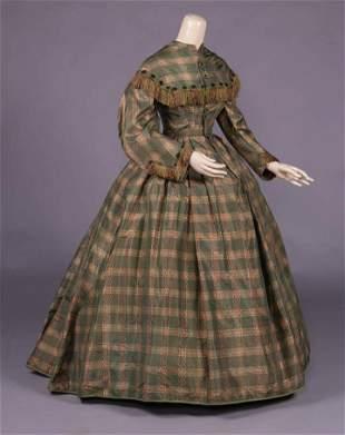 YOUNG LADIES PLAID SILK TAFFETA DAY DRESS, c. 1860