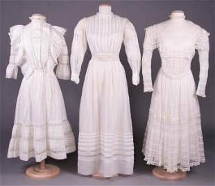 THREE YOUNG LADY'S SUMMER DRESSES, c. 1905