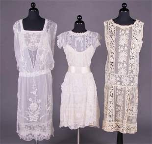 THREE EMBROIDERED NET & LACE TEA GOWNS, MID 1920s