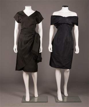 TWO BLACK COCKTAIL DRESSES, 1947-1950s