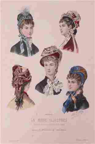 TWELVE ASSORTED MILLINERY & ACCESSORY PLATES, FRANCE,