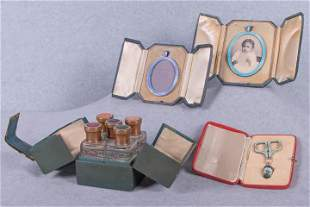 FOUR ENAMELED TRAVELING ACCESSORY SETS, AMERICA, EARLY