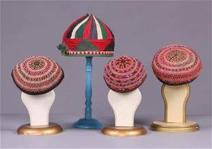 FOUR EMBROIDERED & QUILTED MANS HATS, TURKMENISTAN,