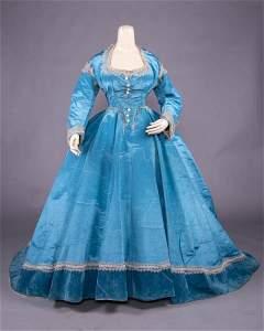 CONVERTIBLE CERULEAN BLUE SILK MOIRE GOWN, c. 1866