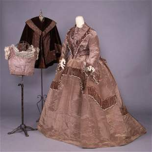 FIVE PIECE CONVERTIBLE GOWN W/ MATCHING CAPE, c. 1868