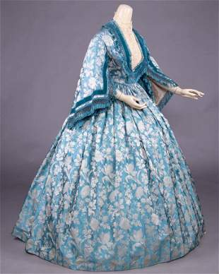 TWO PIECE PATTERNED SILK GOWN, c. 1860