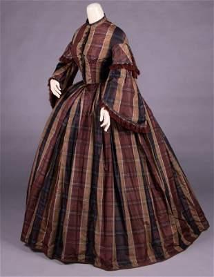 STRIPED PLAID SILK TAFFETA DAY DRESS, c. 1860